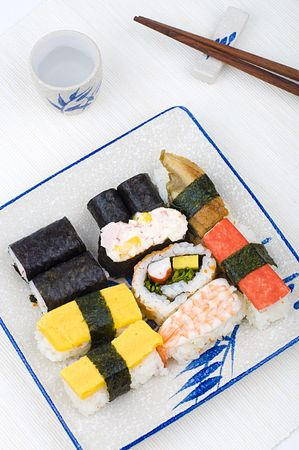 makki: varieties of sushies with cup and chopstick