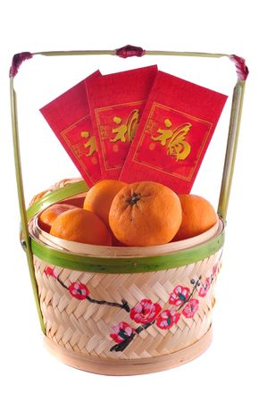 chinese character: chinese new year basket ,character on red packet symbolyzes luck