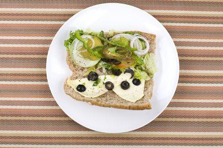 tekka: half opened vegetarian sandwich
