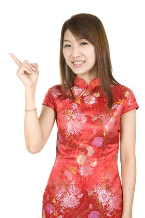 cheongsam: chinese new year girl in cheong sam with isolated white background