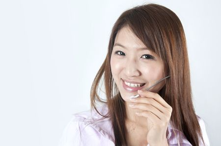 answering the phone: asian call center business women