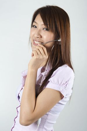 asian business women in  call center photo