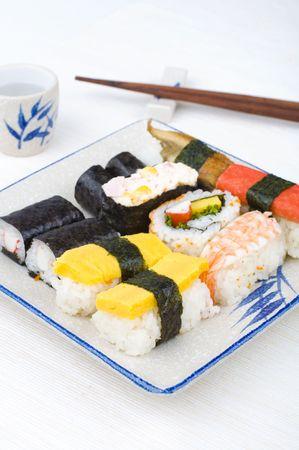 makki: various sushi set with chopstick and tea Stock Photo