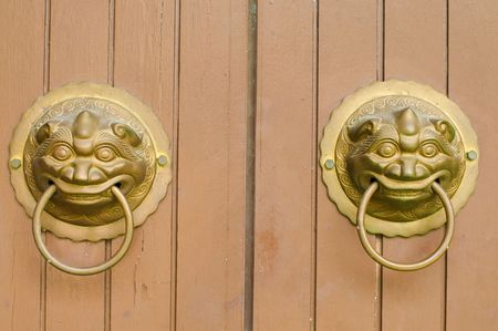 beautiful chinese asian decor lock on a door photo