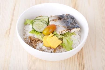 japanese bento rice set with wooden background photo