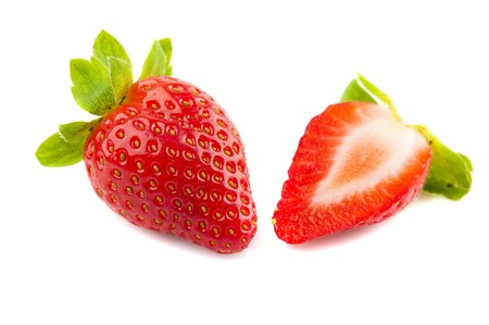 cross cut: strawberry fruit and half cut with isolated white background