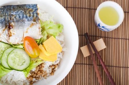 bento: japanese bento rice set with wooden background