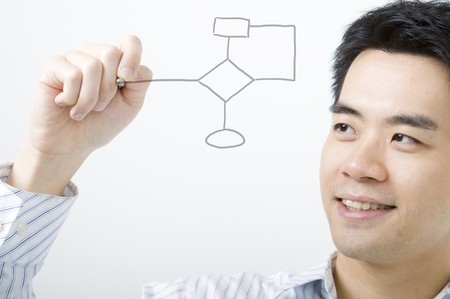 asian business man smiling and drawing flowchart  photo