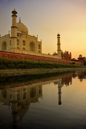 mahal: famous landmark taj mahal shot from yamuna river