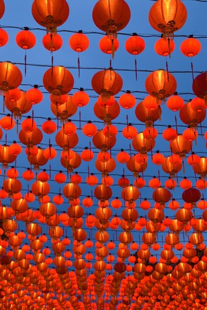 a lot of chinese laterns hanging with blue sky background Stock Photo - 7229761