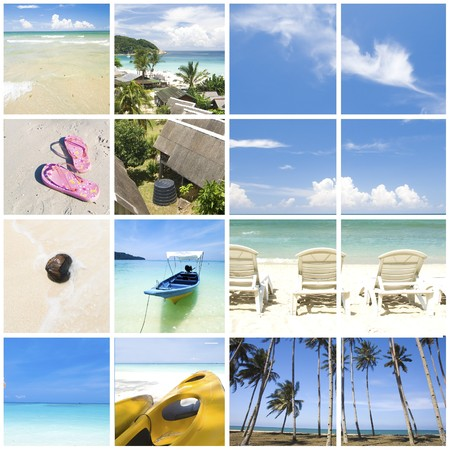 various collage of tropical summer beach photo