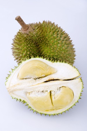 close up durian shot with plain background photo
