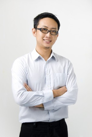 head shots: young asian business man