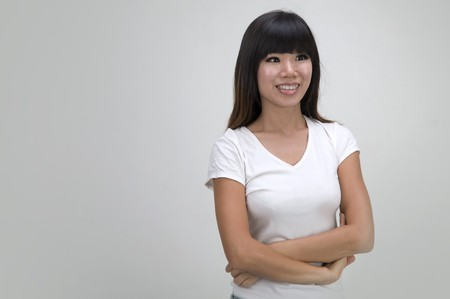 close up portrait of casual asian girl Stock Photo - 7888668