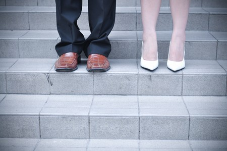 Bride and Groom standing on stairs  Stock Photo - 7898601