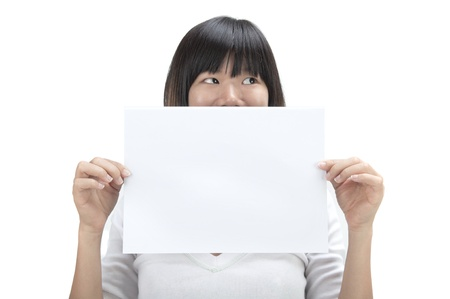 concept asian women holding blank cardboard covering mouth photo