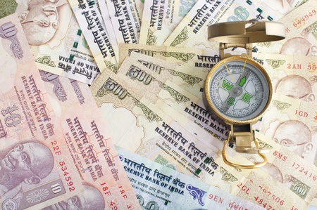 indian money: traveling india with compass and  indian currency rupee