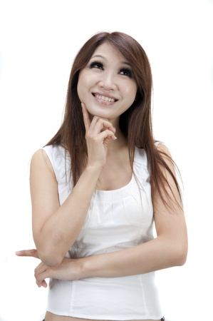 asian girl having a thought Stock Photo - 8995643