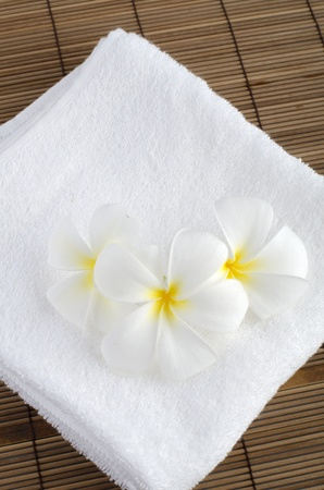 frangipani with towel spa concept photo