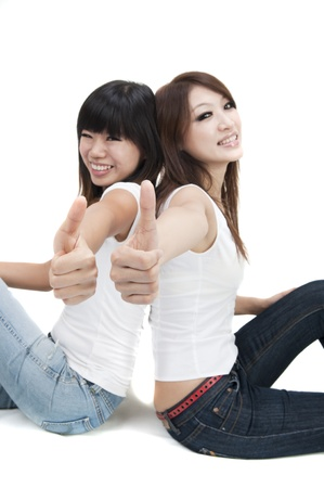 two thumbs up: asian friend giving thumbs up
