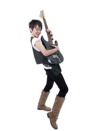 asian female rock start with white background photo