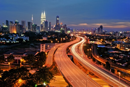 elevated view: Kuala Lumpur is the capital city of Malaysia.  Stock Photo