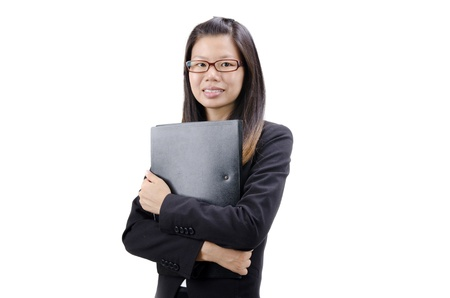 business attire teacher: asian busines women with white background