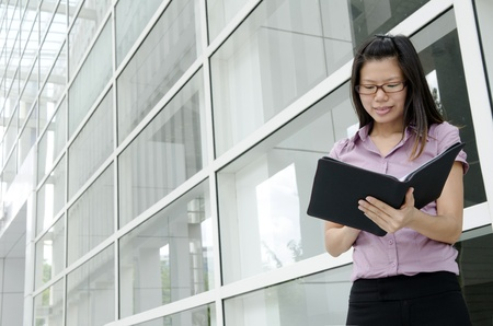 asian business woman with office background photo