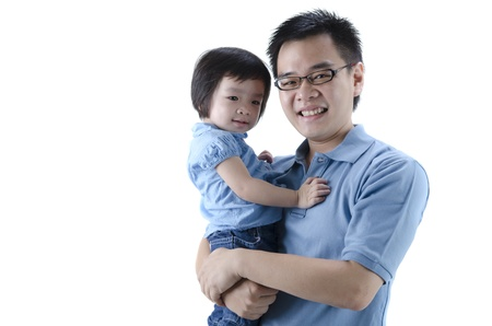 daugther: asian father and daugther with white isolated background