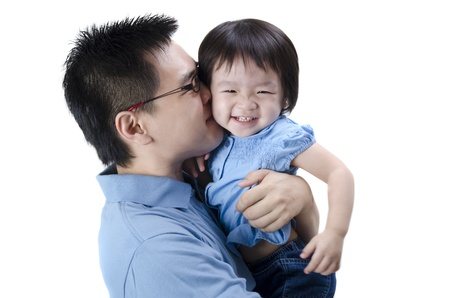 asian toddler: asian father and daugther with isolated white background Stock Photo