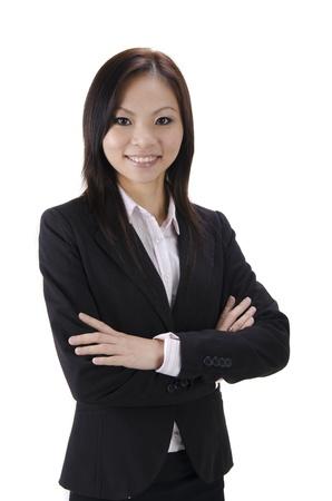 attire: Asian woman. Smiling Asian Educational  Business woman.