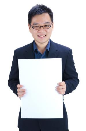 asian business man holding blank cardboard  photo