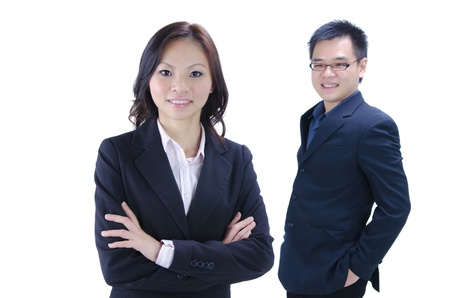 Asian business team on white background  photo