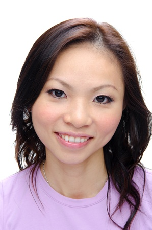 head shot: close up photo of asian girl smiling