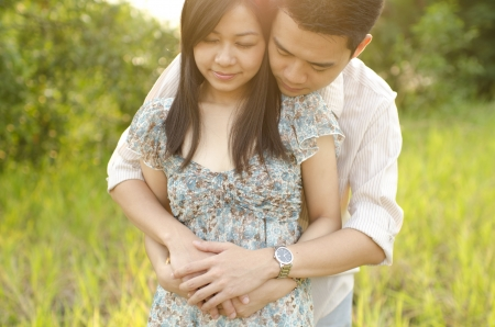 asian romantic couiple photo