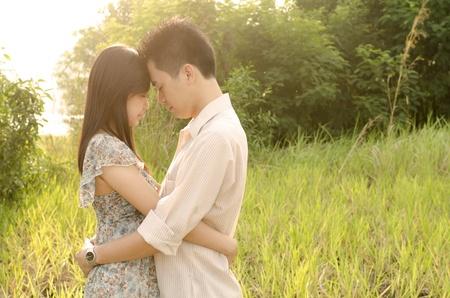 romantic asian outdoor  couple photo