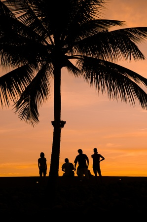 silhouette of people and tourist during a beautiful sunset Stock Photo - 9626861