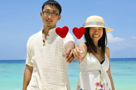 asian couple with love photo