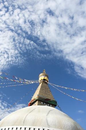 prayer tower: Boudhanath Stupa in Kathmandu Nepal , with a lot of sky for copysapce purpose