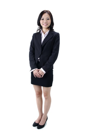 folded arms: Full body asian business woman with white background Stock Photo