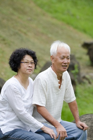 Asian senior couple outdoor photo