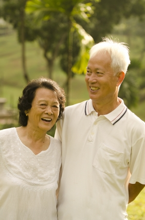 Asian Senior Couple at outdoor park Stock Photo - 10044911
