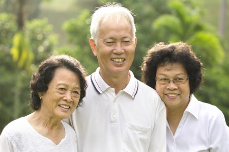 old people group: asian senior adult family with outdoor background Stock Photo