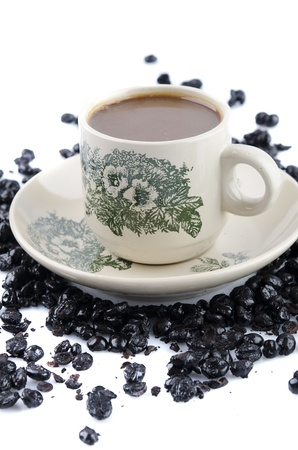 chinese coffee isolated in white with coffee beans photo