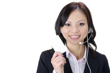 asian business woman with a name card photo