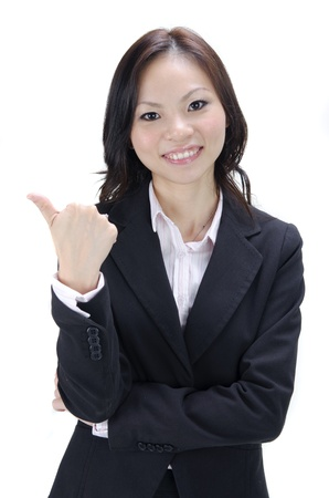 asian business woman thumbs up photo