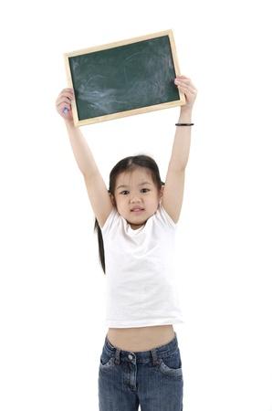 asian little girl holding a black blackboard photo