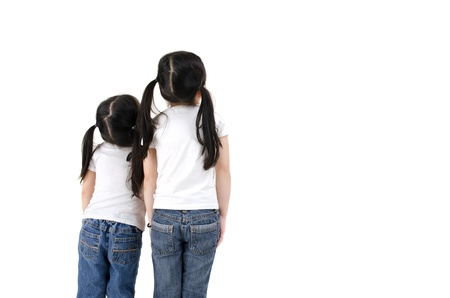 isolated asian girls looking up photo