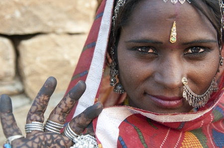 poor woman: Portrait of a India Rajasthani woman  Stock Photo
