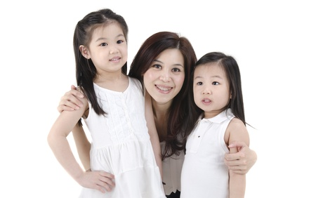asian mother with her daughters